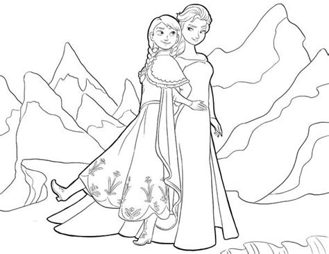 anna  elsa standing side  side coloring page