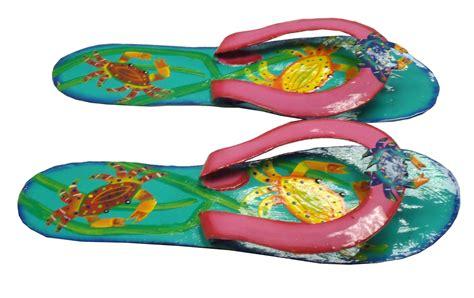 Set Flip Flop Jhe tropical flip flop crabs haitian wall decor set s1colort ebay