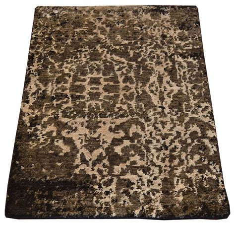 area rug modern mat wool and silk knotted abstract