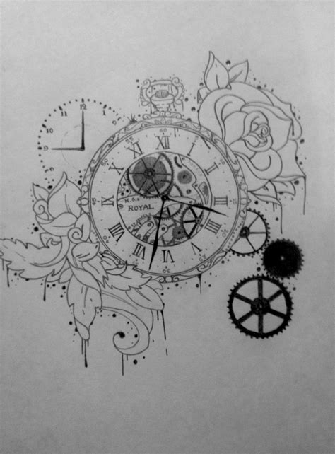 tattoo love draw drawn pocket watch clock gear pencil and in color drawn