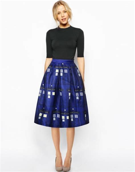 vintage print high waist skater flared pleated swing