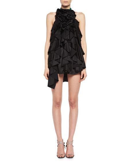Dsjt217112824244 Mini Dress Lengan Ruffle Motif Floral laurent floral ruffle silk satin halter minidress neiman