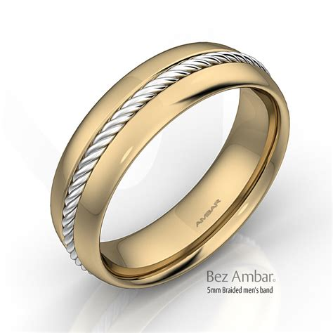 mens gold wedding bands 18k two tone gold wedding band