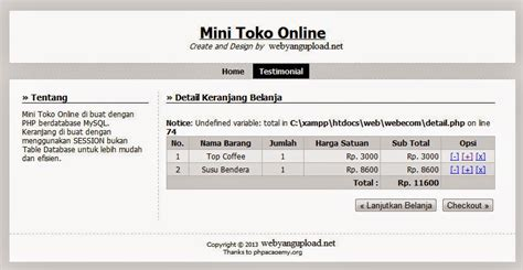 membuat web e commerce keranjang belanja shopping cart membuat web e commerce