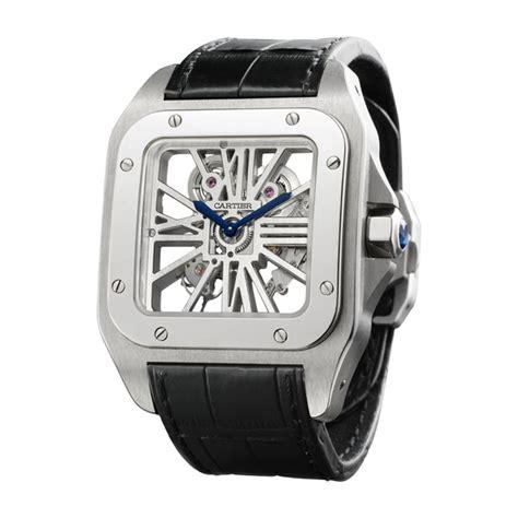 reloj santos  esqueleto xl manual paladio piel fine relojes  hombre cartier