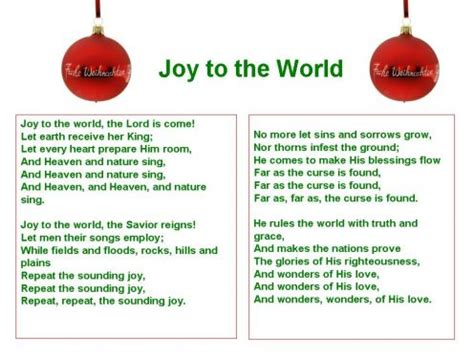 printable lyrics joy to the world christmas carols lyrics