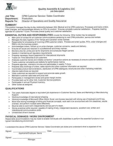 Customer Service Coordinator Description cpm customer service sales coordinator description
