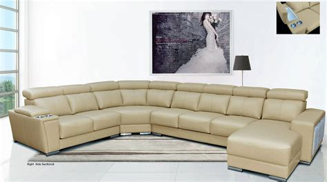 Cream Colored Bedroom Furniture - cream italian leather extra large sectional with cup holders columbus ohio esf8312