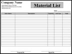 parts list template list templates best word templates part 2