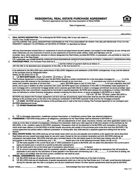 offer to purchase contract template residential real estate purchase agreement iowa free
