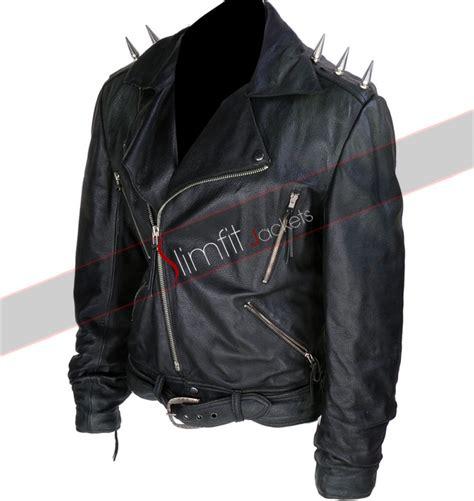 motorcycle biker jacket replica ghost rider black motorcycle spiked jacket