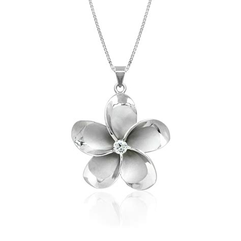 plumeria sterling silver pendant with cz