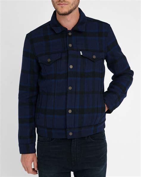 Rompi Levis Blue Black levi s blue black trucker plaid wool jacket in blue for lyst