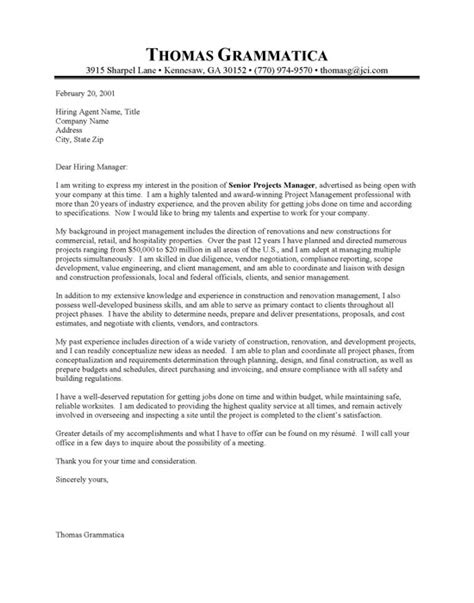 Cover Letter In Construction Construction Property Manager Cover Letter Sle Resume Cover Letter