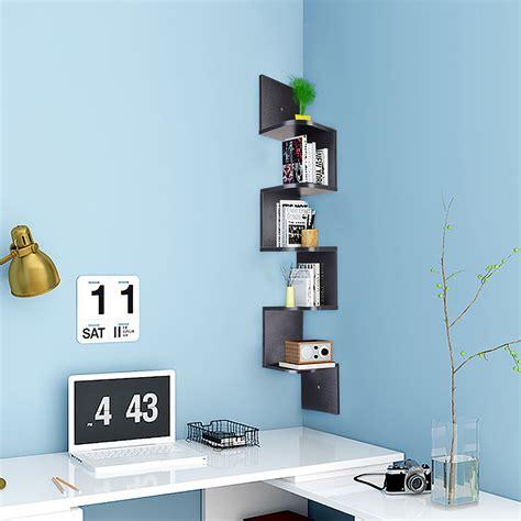 corner shelf stand wood 5 shelves display unit storage furniture living room ebay 5 tier wall mount corner shelf storage unit shelves wood