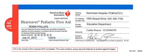 american association heartsaver cpr card template cpr certification