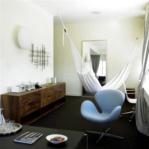 hammock in room modern chic bedroom interior design king suite hammock nu hotel rooms nyc new york by