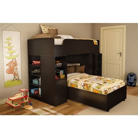 South Shore Bunk Beds South Shore Logik L Shaped Bunk Bed In Chocolate Finish 3359a4