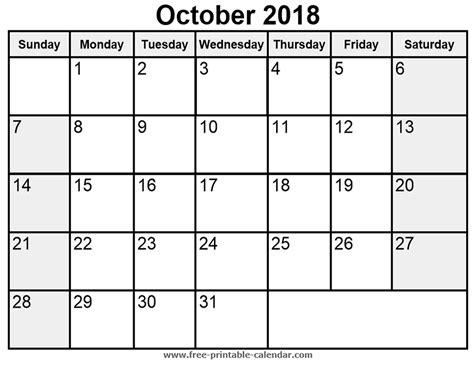 printable calendar october 2018 printable october 2018 calendar