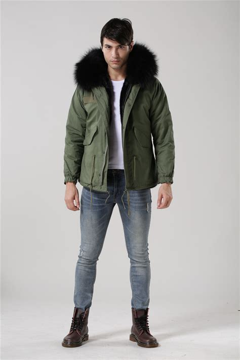 Outwear Wanita Fashionable Mirana Black Sweaters fashion black fur inside jacket raccoon fur collar army green coats mr furs jacket in