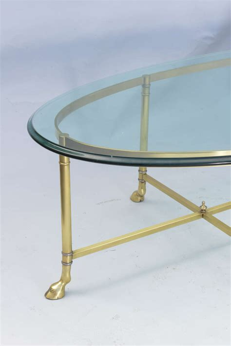 Oval Coffee Table Glass Top Polished Brass Cocktail Table With Oval Glass Top At 1stdibs