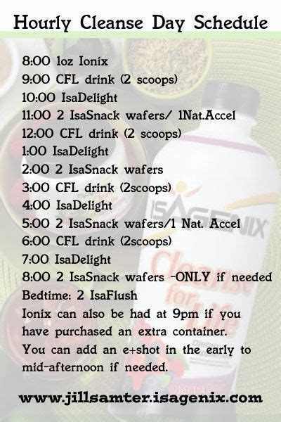 Detox Schedule by Hourly Cleanse Schedule Save To Your Phone Isagenix