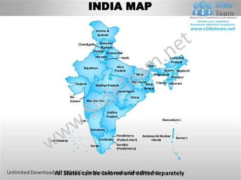 India Country Editable Powerpoint Maps With States And Counties Templ India Map Ppt Template