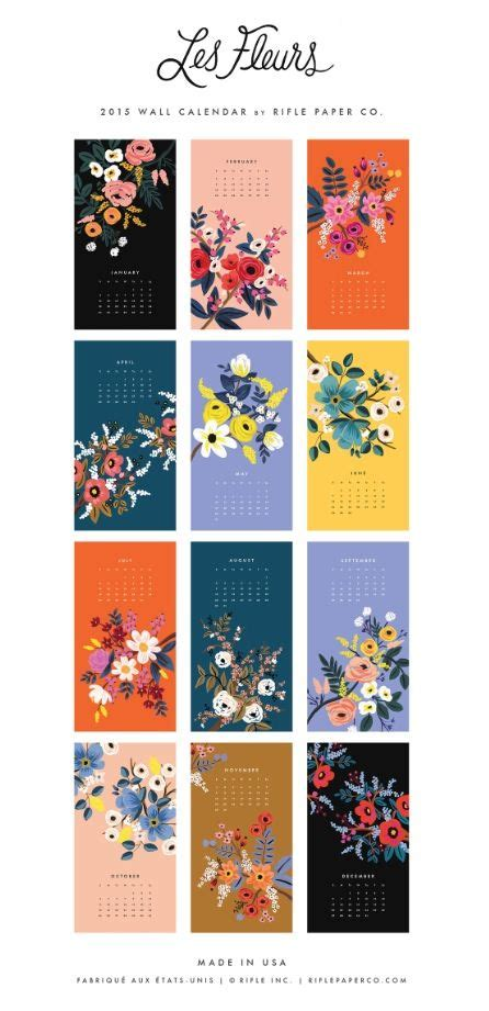 calendar design pattern les fleurs 2015 calendar from rifle paper co lab