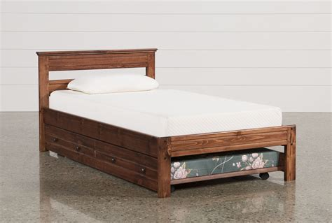 sedona twin platform bed w trundle amp mattress living spaces