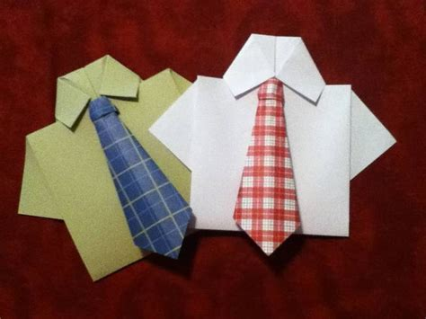 Origami Tie - origami necktie and shirt card by sweetbloominscraps