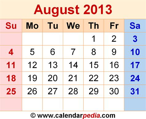 Calendar August 2013 August 2013 Calendars For Word Excel Pdf