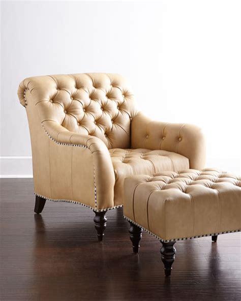 brady tufted leather chair ottoman
