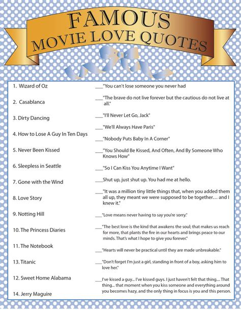 printable love games movie quotes bridal shower game love pinterest