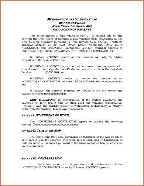 memorandum of understanding template sponsorship letter