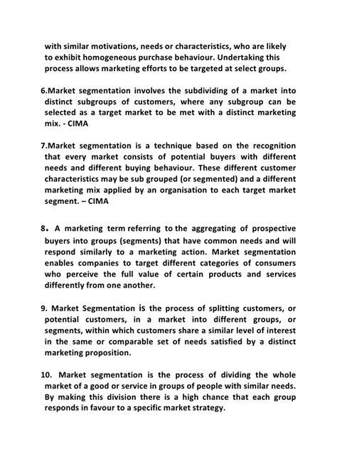 Market Segmentation Essay by Market Segmentation Doc