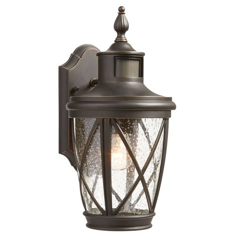 outdoor motion light shop allen roth castine 13 75 in h rubbed bronze motion