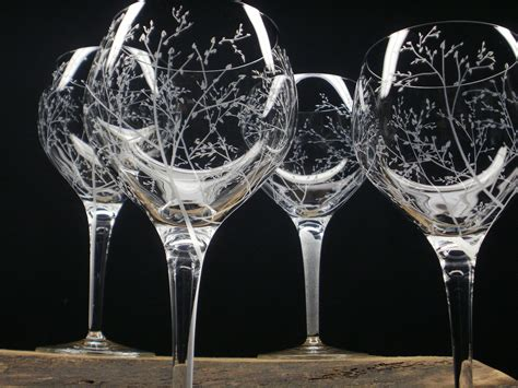 etched barware 4 red wine glasses hand engraved crystal glass branches