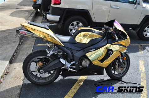 gold motorcycle racing skins 187 gold chrome wrap with black carbon fiber