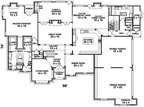 six bedroom floor plans 7700 square 6 bedrooms 4 batrooms 4 parking space on 2 levels house plan 19161 all