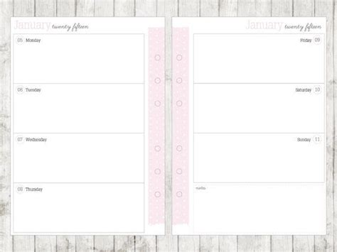 a5 printable agenda a5 2015 week on 2 pages calendar printable by