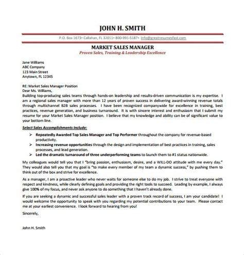 sales cover letter templates sample