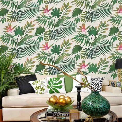 Palm Tree Wall Decor Tropical Dreams Allover Stencil Tropical Leaf Wallpaper