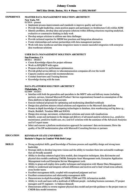 Data Architect Resume by Solution Data Architect Resume Sles Velvet