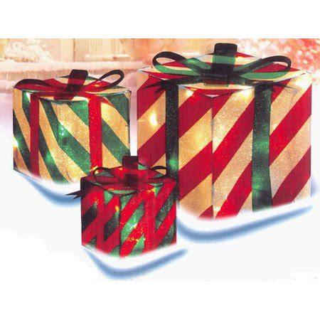 sylvania 3 piece lighted gift box set christmas outdoor yard decor 3 glistening striped gift box lighted yard decoration set walmart