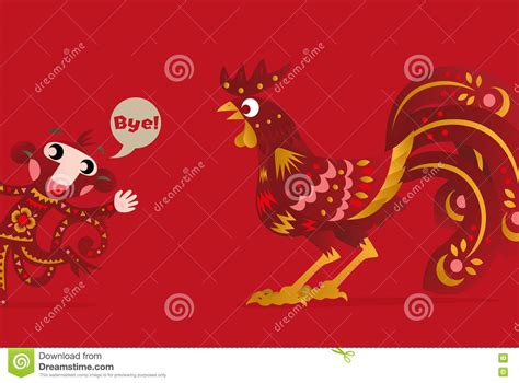 new year rooster and monkey the new years of the rooster stock vector image