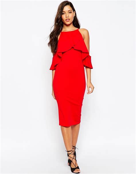 Midi Dress Shoulder Cold Prisya Dress Midi Shoulder Biru Putih Pris asos high neck cold shoulder midi dress in lyst