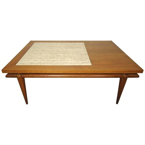 mid century coffee table with marble insert by