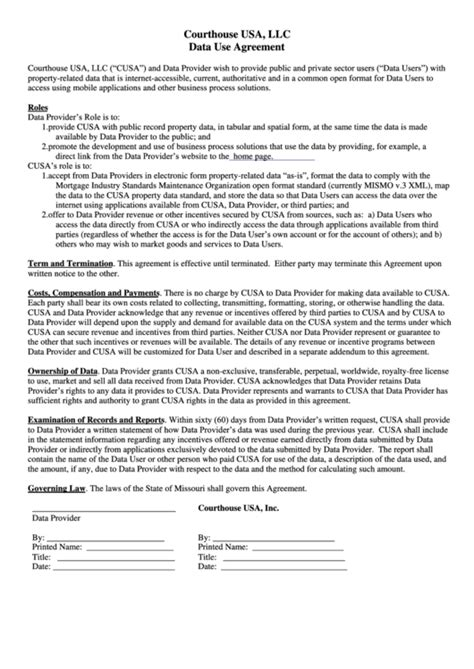 data use agreement template data use agreement printable pdf