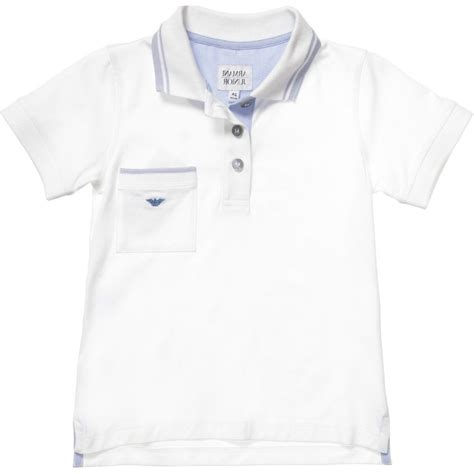 armani junior boys white cotton jersey polo shirt