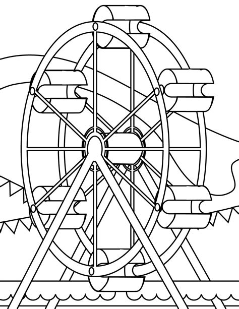 water wheel coloring page sketch of water wheel coloring ferris drawing reaic